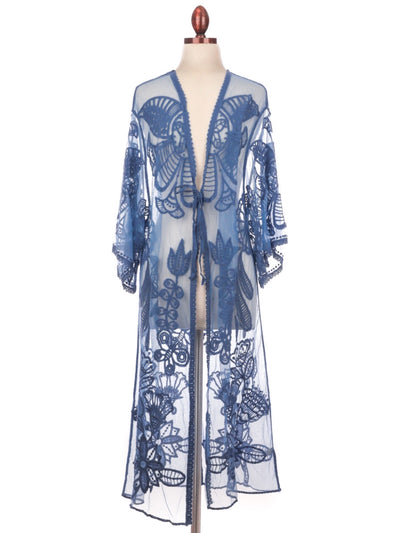 Embroidered Sheer Lace Kimono Top