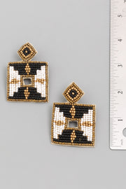 Beaded Square Drop Earrings