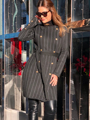 Striped Knit Coat