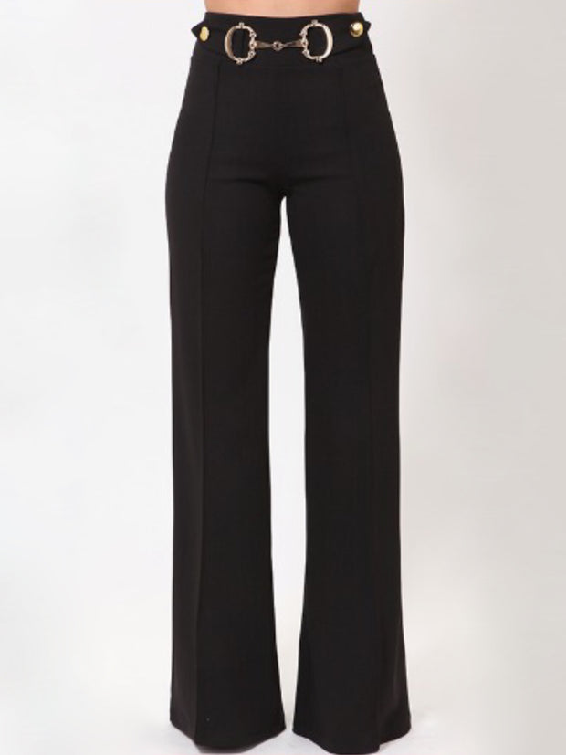 Black Gold Trim Pants Bottoms