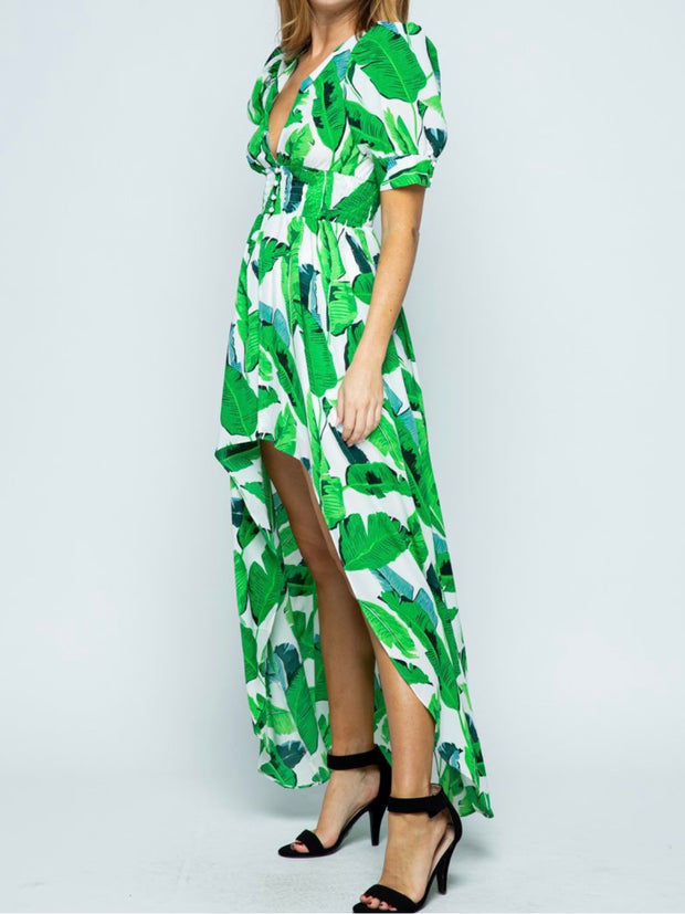 Palm Print High-Low Top