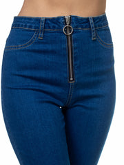 High Rise O-Ring Zipper Up Denim Bottoms