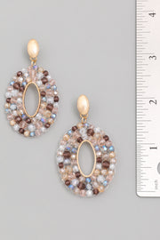 Multi Oval Beaded Drop Earrings