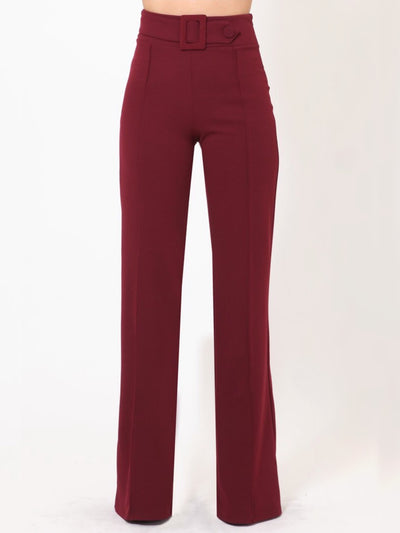 Wine Rectangle Buckle & Button Bottoms