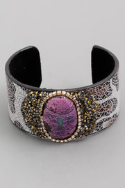 Wide Oval Gemstone Cuff Bracelet