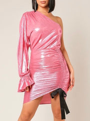 One Sleeve Metallic Dress
