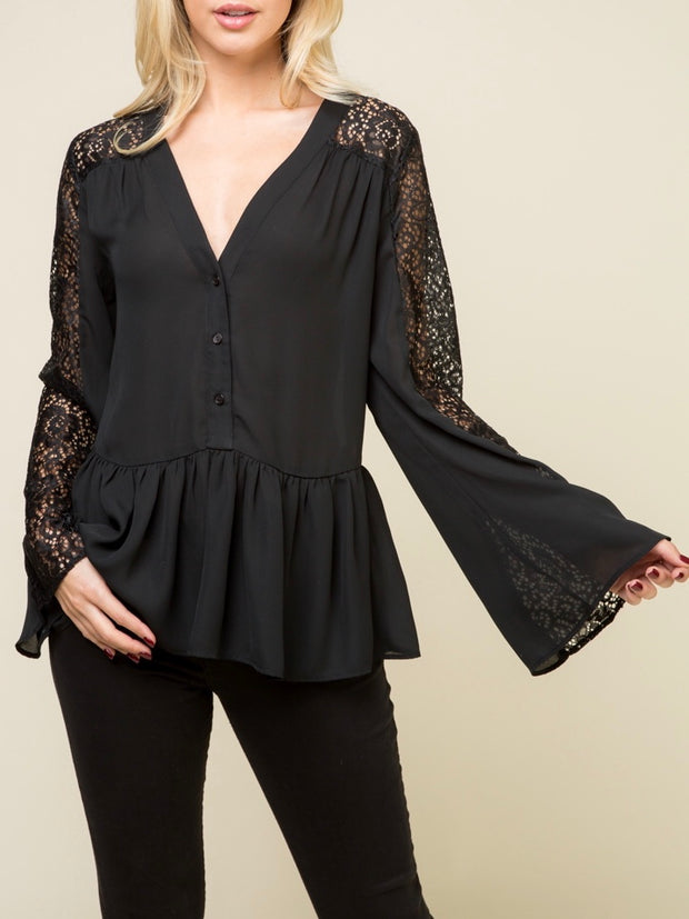 V-Neck Lace Peplum Top
