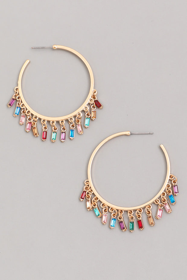 Baguette Fringe Hoop Earrings