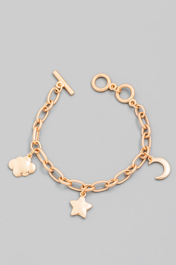 Toggle Chain Moon And Star Bracelet