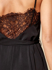 Black Belted Back Lace Jumpsuit