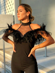 Sasha Feathered Jumpsuit