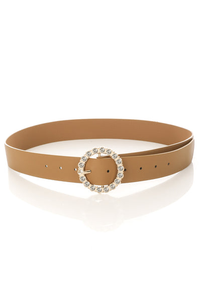 Circle Rhinestone Buckle Belt