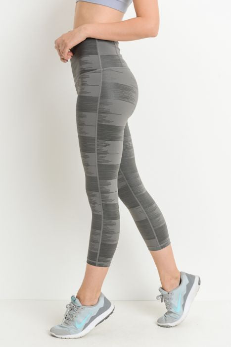 Highwaist Drawn Lines Print Pocket Capri Leggings