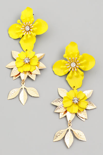 Yellow Layered Floral Drop Earrings