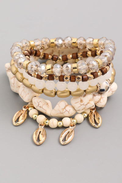 Stone Bead And Cowrie Shell Bracelet Set
