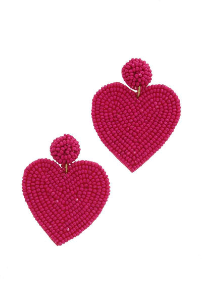 Pink Heart Shape Post Drop Earring