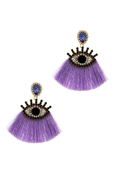 Purple Rhinestone Eye Earring
