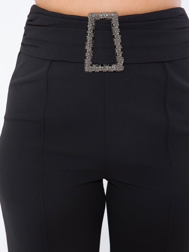 Black Square Buckle Bottoms