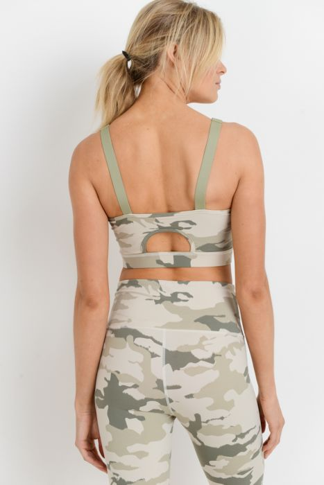 Cut-Out Back Camo Lite Print Sports Bra