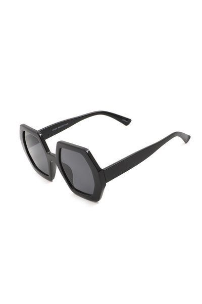 Black Acetate Hexagon Sunglasses