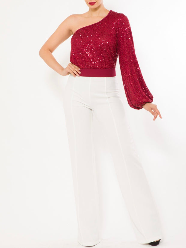 Red One Shoulder Sequin Top