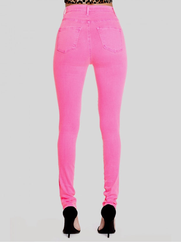 Neon Pink High-Waisted Jeans Bottoms