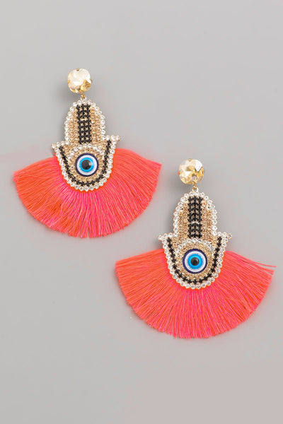 Hamsa Eye Tassel Fan Earrings