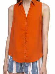 Rust Button Down Top