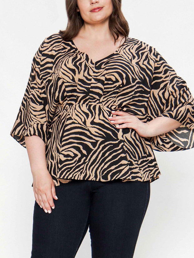 Tiger Stripe Print Blouse