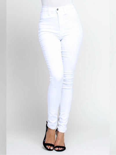 White High-Waisted Jeans Bottoms
