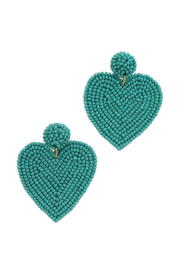 Turquoise Heart Shape Post Drop Earring