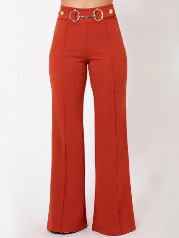 Rust Gold Trim Pants Bottoms