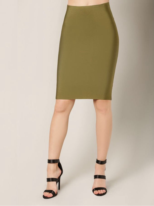 Olive Pencil Length Skirt
