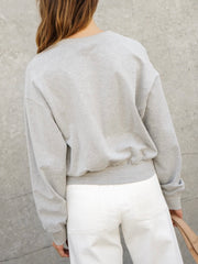Belted French Terry Sweater Top