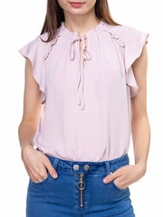 Neck Tie Ruffle Sleeves Top