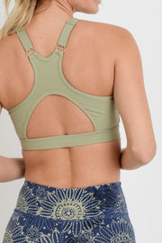 Adjustable Racerback Cutout Sports Bra