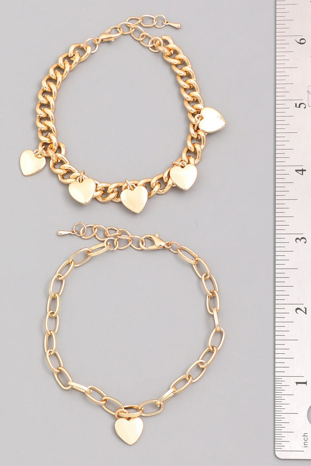 Layered Heart Chain Bracelet