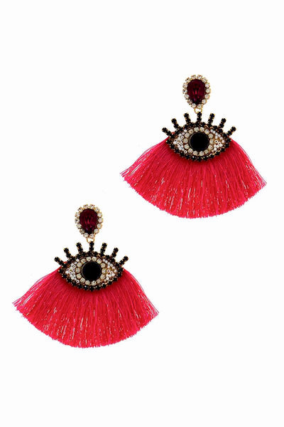 Pink Rhinestone Eye Earring