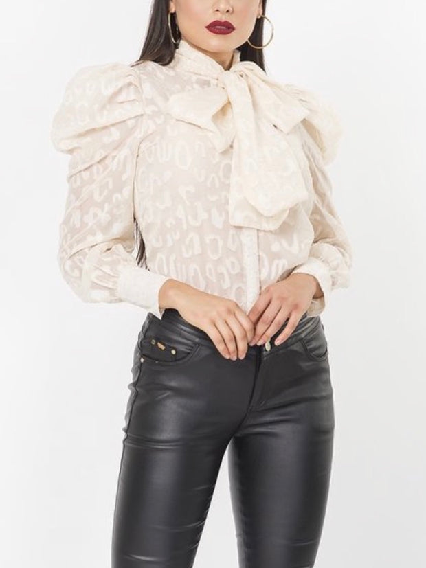 Beige Gabriella Puff Sleeve Top