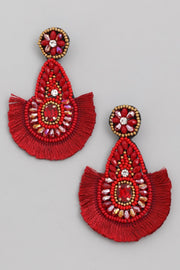 Red Boho Bead Fan Drop Earrings