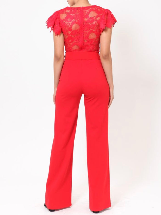 Brenda Jumpsuit With Ribbon Belt