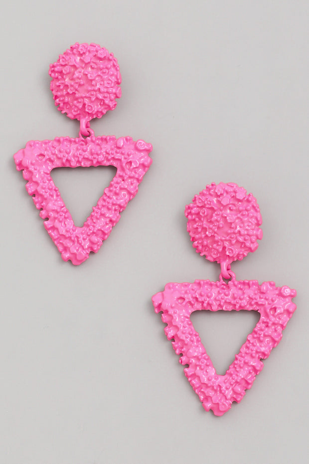 Pink Neon Triangle Drop Earrings