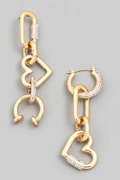 Heart Chain Link Earrings