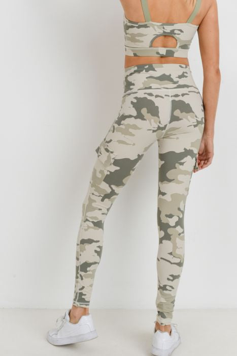 Highwaist Camo Lite Print Cargo Leggings