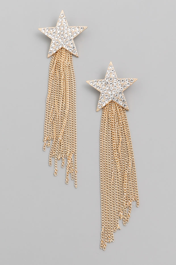 Gold Rhinestone Star Chain Fringe Earrings