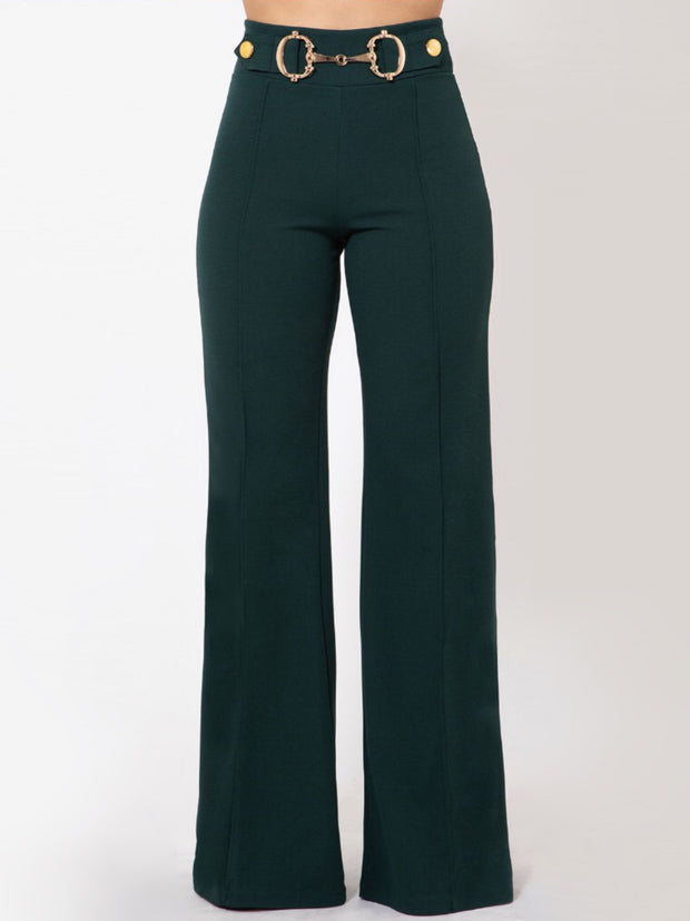 Hunter Green Gold Trim Pants Bottoms