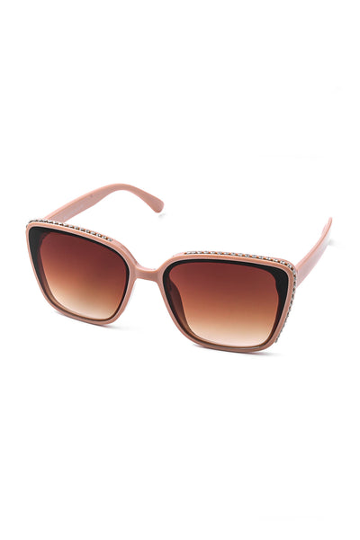 Nude Studded Frame Square Sunglasses