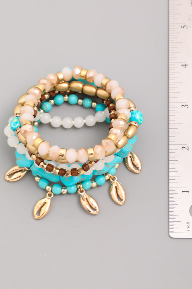 Blue Stone Bead And Cowrie Shell Bracelet Set