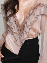 Ruffled Bodysuit Top