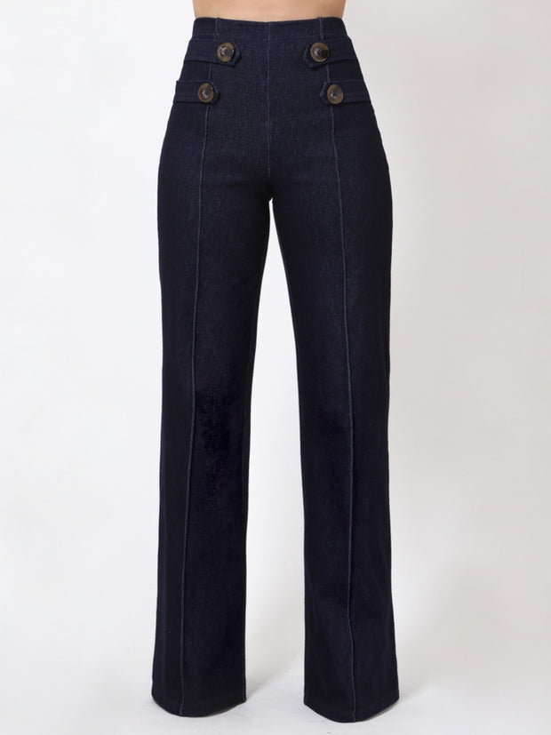 Stretch Denim Button Bottoms